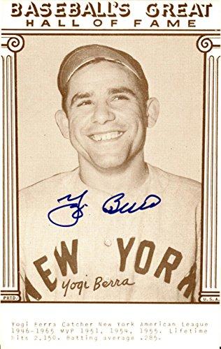 Yogi Berra Autographed Baseball's Great HOF Postcard Yankees 126225 Steiner Sports Certified MLB Cut Signatures