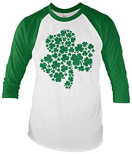 Threadrock Green Shamrock of Shamrocks Unisex Raglan T-shirt M White/Kelly