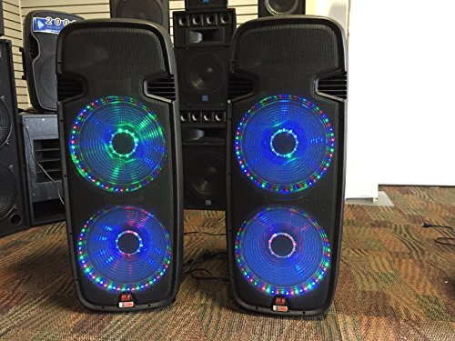 pair of lighted powered dual 15 3000 watt dj speakers bluetooth
