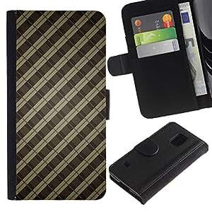 All Phone Most Case / Oferta Especial Cáscara Funda de cuero Monedero Cubierta de proteccion Caso / Wallet Case for Samsung Galaxy S5 V SM-G900 // Brown Lines Guitar Pattern Metal Bars