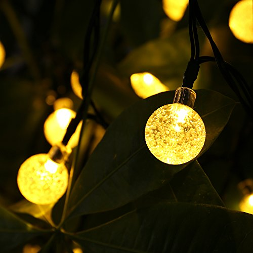 Qedertek Globe Outdoor Solar String Lights 20ft 30 Led