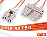 FiberCablesDirect | 4M OM2 LC SC Fiber Patch Cable | Duplex 50/125 LC to SC Multimode Jumper 4 Meter (13.12ft) | Length Options: 0.5M-300M Alt: ofnr lc-sc mmf optic patch-cord sc/lc zip-cord dx