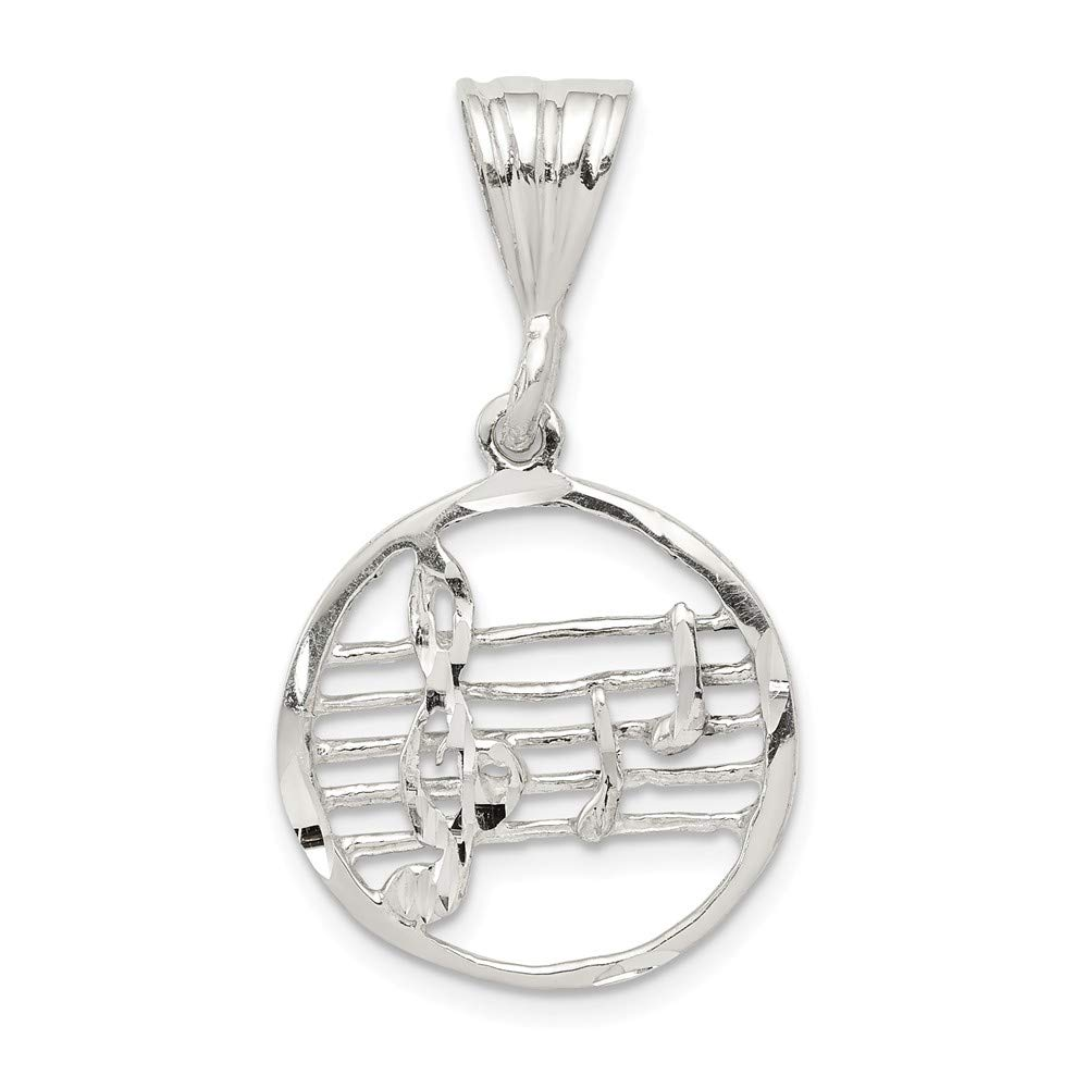 19mm x 22mm Solid 925 Sterling Silver Music Staff Pendant Charm
