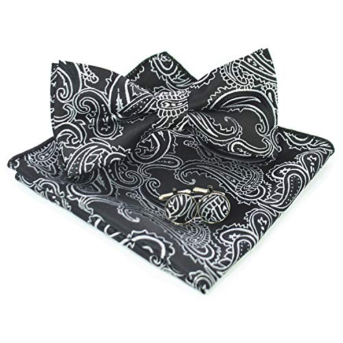 Black Paisley Bow Tie and Pocket Square With Cufflinks Set(6) ()