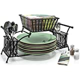 Sorbus Utensil Caddy — Use For Napkin, Cutlery, Plate Holder — Stackable Flatware Caddy, Tabletop Organizer — Ideal for Dining Table, Party, Buffet, Kitchen, Entertaining, Picnics (Black - Metal)