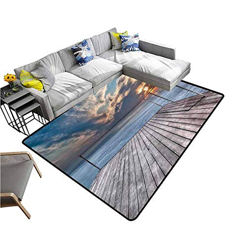 Bathroom Floor mats Travel,Ocean Sea View Terrace Balcony During Sunset Dawn Image Print,Pale Brown Grey and Sky Blue 60