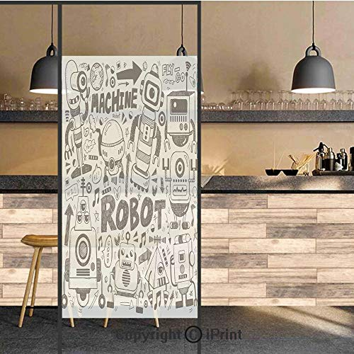 3D Decorative Privacy Window Films,Futuristic Space Doodle Style Androids Sci Fi Pattern Fantasy Machine Art Print,No-Glue Self Static Cling Glass film for Home Bedroom Bathroom Kitchen Office 24x48 I]()