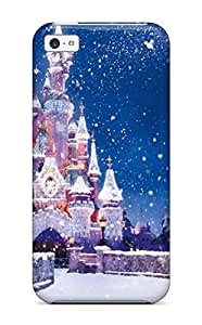 Fashionable Style Case Cover Skin For Iphone 5c- Amazing Disney Castle Christmas