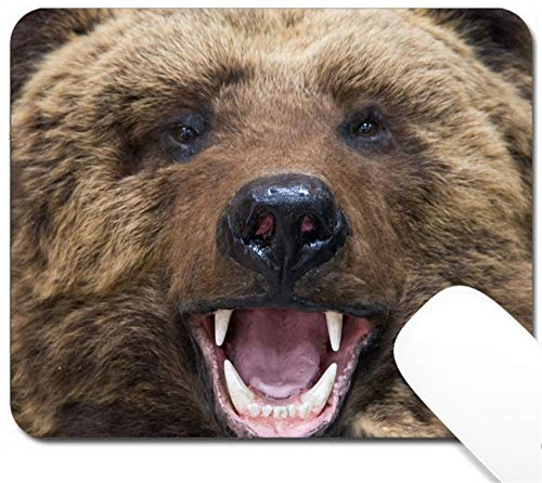 MSD Mouse Pad with Design - Non-Slip Gaming Mouse Pad - Enraged Brown Bear Closeup Image 8248699 Customized Tablemats Stain Resistance Collecto
