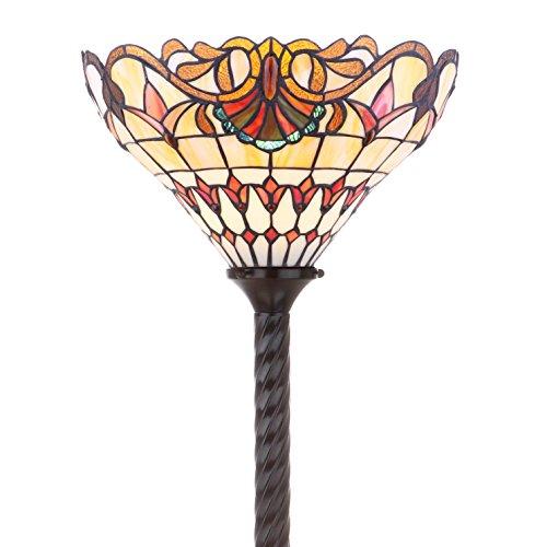 JONATHAN Y JYL8003A Davis Tiffany-Style Torchiere Floor Lamp, 15.0