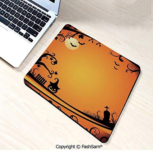 Personalized 3D Mouse Pad Halloween Themed Image Eerie Atmosphere Gravestone Evil Pumpkin Moon Decorative for Laptop Desktop(W7.8xL9.45)]()