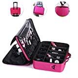 OR Pure Makeup Train Case Cosmetic Organizer Makeup Artist Box Adjustable Shoulder for Makeup Brush Hair Style Nail Beauty Tool Fit on Trolley for Travel 16.512.25.5 Inch Pink