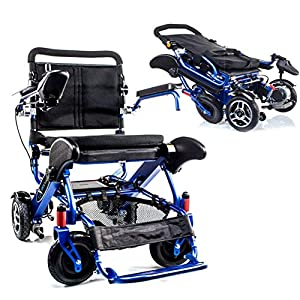 Geo Cruiser DX Lightweight Compact Folding Lithium Electric Power Wheelchair - BLUE from Geo Cruiser