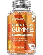 Vitamin-C och zink gummies - 120 veganvänliga gummies (räcker i 2 månader) Välsmakande med apelsinsmak. Främjar immunsystemet, trötthet & huden. Ketovänligt tillskott