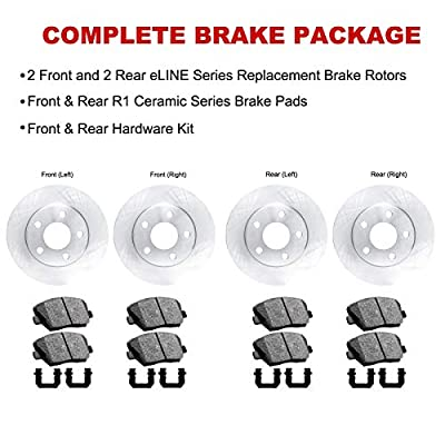 For Ford, Lincoln Fusion, MKZ Front Rear Blank Brake Rotors Kit + Ceramic Brake Pads: Automotive