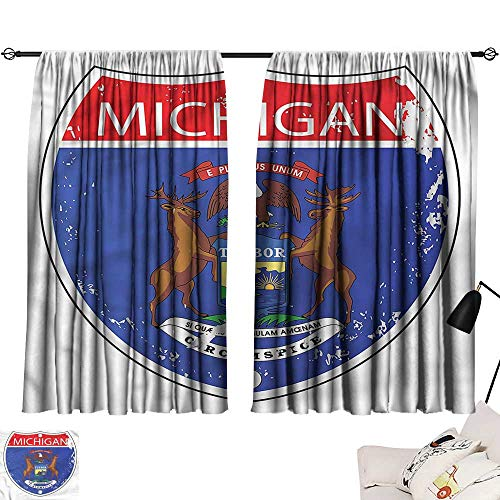 Insulating Blackout Curtain American,State of Michigan Flag 72