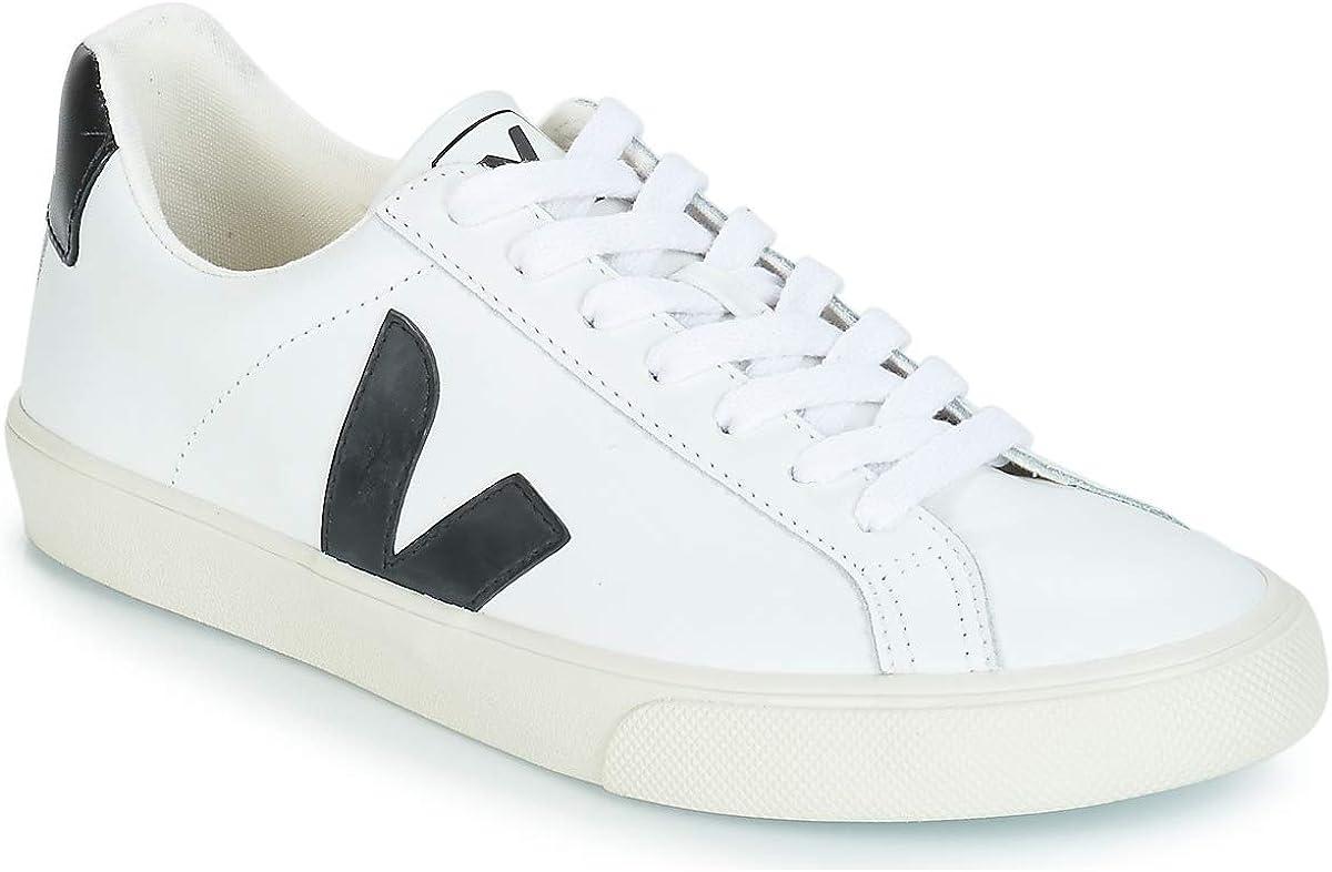 Veja Zapatillas Esplar de piel con velcro para hombre, (Blanco/Negro), 44.5 EU