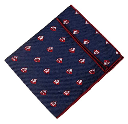 - Flairs New York Polka Dots Collection Pocket Square (Midnight Blue / Burgundy [Fleur-de-lis Emblem])