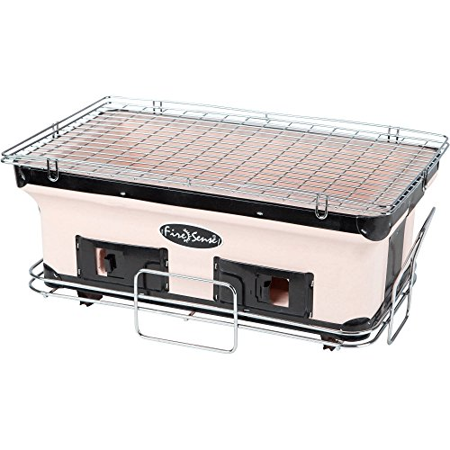 Fire Sense Tan/Brown Large Yakatori Adjustable ventilation and Large cooking surface Barbecue Charcoal Grill - Grill Japanese