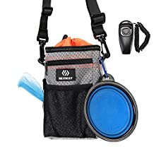 REXWAY Dog Treat Pouch Set for Training, with Built-in Waste Bag Dispenser, Adjustable Waist Belt and Over Shoulder Strap, Bonus Free Collapsible Drinking Bowl & Clicker