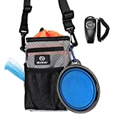 REXWAY Dog Treat Pouch for Training, with Built-in Waste Bag Dispenser, Adjustable Waist Belt and Over Shoulder Strap, Bonus Free Collapsible Drinking Bowl & Clicker