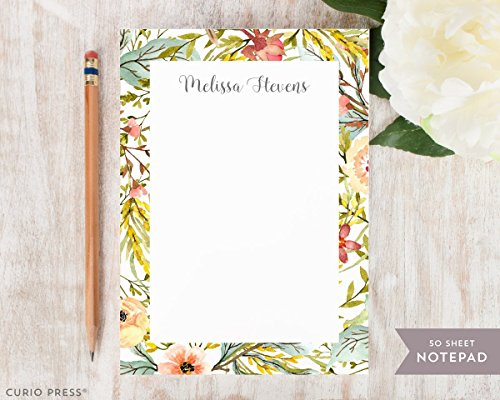 GARDEN NOTEPAD - Personalized Stationery / Stationary Floral Rustic Note (Garden Curio)