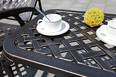 HOMEFUN Patio End Table, Outdoor Side Table Cast Aluminum Metal Furniture (Antique Bronze)