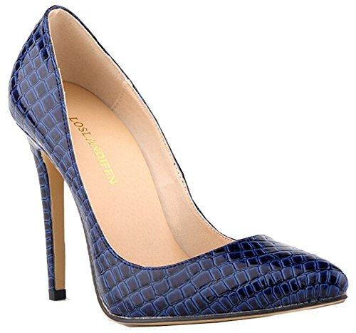 Sexy Pumps Damen-Krokodil-Korn-Muster spitz High Heels Stilettos blau