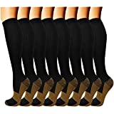 QUXIANG Copper Compression Socks for Women and Men - Best Medical Sports, Nursing, Running, Cycling, Athletic, Edema, Diabetic, Varicose Veins, Travel, Pregnancy & Maternity 15-20 mmHg (L/XL,Multi 01)