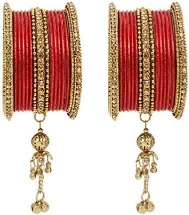 Set of 4 Sukriti Indian Bollywood Beautiful Gold Plated Royal Bangadi Bangles for Women /& Girls Color variants Available
