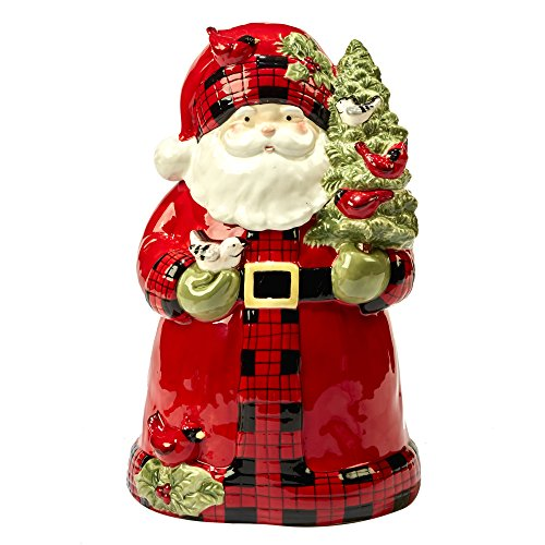 (Certified International Winter's Plaid 3-D Cookie Jar - Santa)
