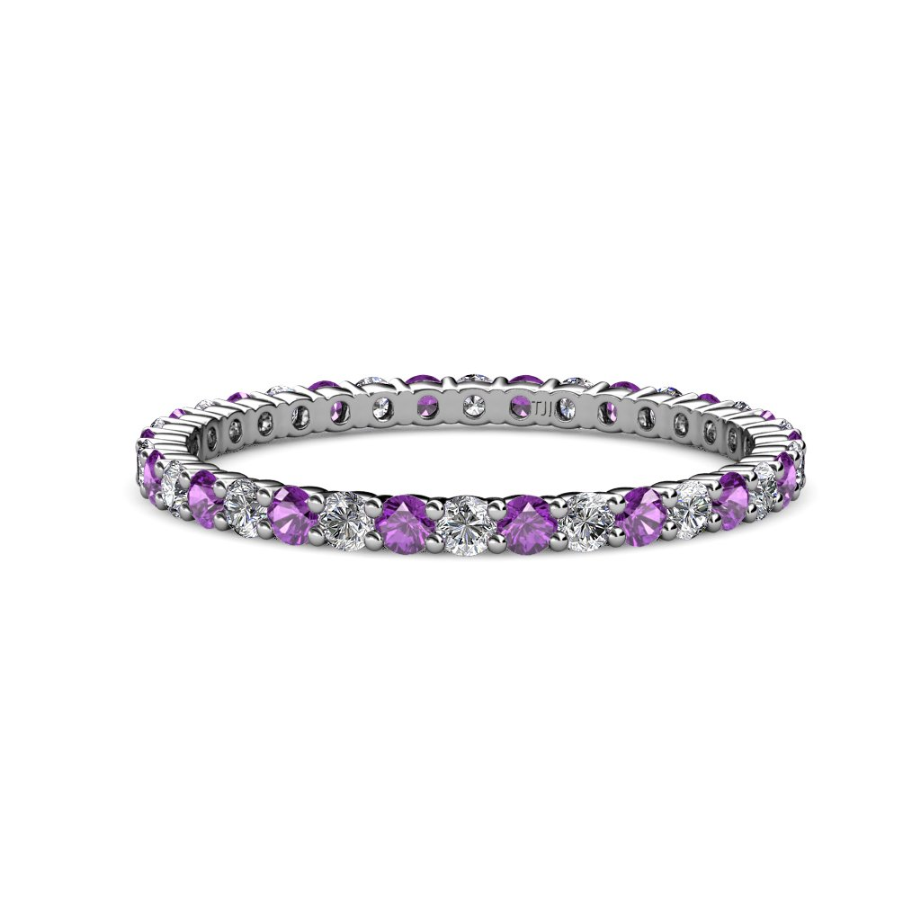TriJewels Amethyst & Diamond 2mm Common Prong Eternity Band 0.65-0.83 ctw in 14K White Gold.size 5.5