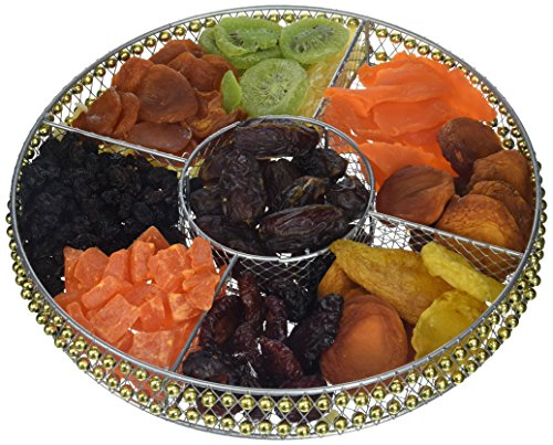 ONEG Round Wire Large Dried Fruit Platter, Assorted, 47 Ounce - 3 Lb Mango Peach
