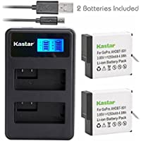 Kastar Battery 2 Packs & LCD Dual Slim Charger for GoPro HERO5, Hero 5 Black, Gopro5 and GoPro AHDBT-501, AHDBT501, AHBBP-501 Sport Camera (Compatible with Firmware v01.57, v01.55 and Future Update)