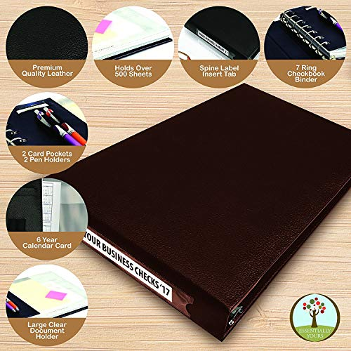 7 Ring Business Check Binder for 3 on a Page Checks   Large Storage Pouch, Calendar, and Ballpoint Pen Included, Burgundy by Essentially Yours (Image #6)