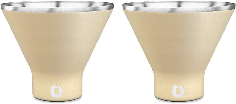 Snowfox Stainless Steel Cocktail, Margarita and Martini Glasses, Set of 2, Light Gold