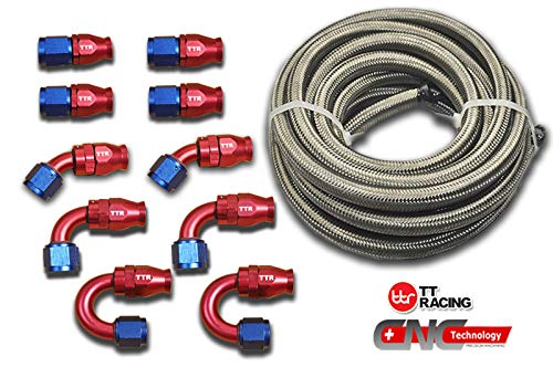 8 AN8 PTFE Swivel Fittings /& Stainless Steel Fuel Line Hose Kit 20FT