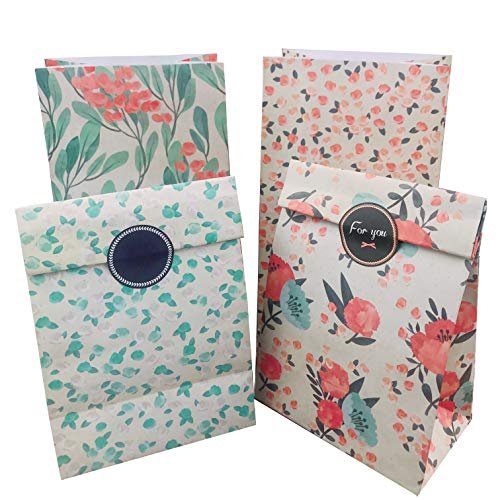 Floral Paper Gift Bags, 12pcs Party Favor Bags Vintage CandyTreat Bags with Thank You Stickers (Floral Medium Gift Bag)