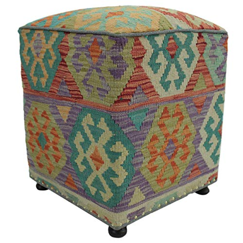 Arshs Fine Rugs Chaney Rust/Ivory Handmade Kilim Upholstered Ottoman 16