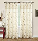 RT Designers Collection Bentley Embroidered 54 x 84 in. Double Rod Pocket Curtain Panel w/ Attached 18 in. Valance, Gold For Sale