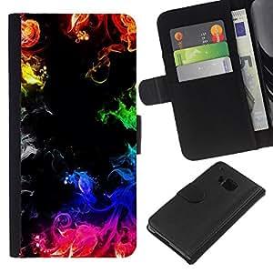KLONGSHOP // Tirón de la caja Cartera de cuero con ranuras para tarjetas - Fuego Llamas del arco iris Negro colorido - HTC One M7 //