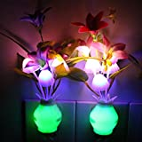 Taozi 2 PCS Kids Night Light Bathroom Kitchen Bedside Light Lamp Color Changing Plug In LED Mushroom Flower Nightlight (Cream)