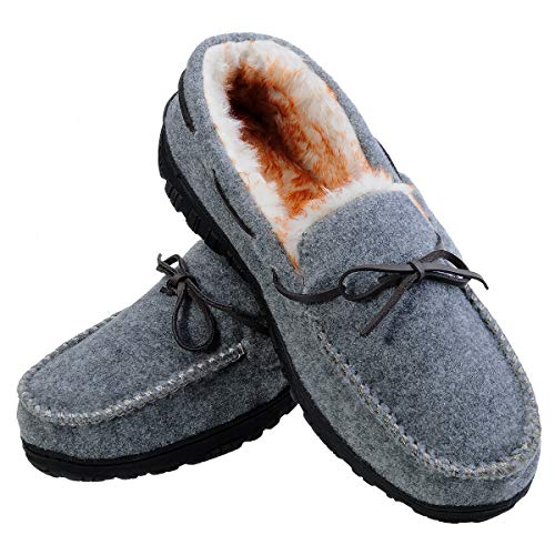 Men's Moccasin Slippers Warm Comfortable Memory Foam Plush Lining Anti Slip Indoor Outdoor Driving Loafers Shoes (12 M US/Pls Order 1-1.5 Size up, Grey with Felt Vamp)