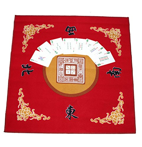 178 American Western Chinese Mahjong Playing Cards & Red Table Cover Set