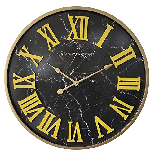 24 inch Wood & Metal Frame Large Decor Wall Clock Decorative Clocks for Living Room,Oversized,Black Marble Texture,Thick and Heavy