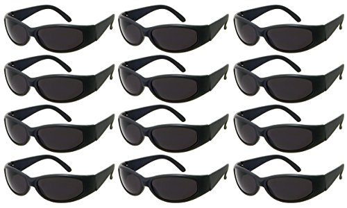 (Edge I-Wear 12 Pack Sports Wrap Sunglasses with UV400 Lens Oval Frame Eyeglass 5463N/SD-SET-12)