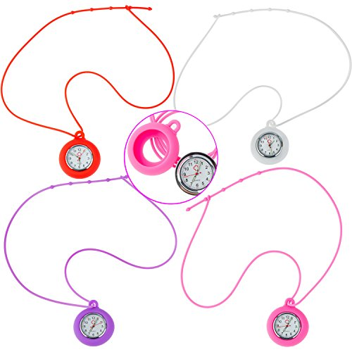 Set / Kit / Lot of 4 Necklaces / Pockets / Fob / Pendants Analogue Quartz Watches for Doctors, Nurses, Health Care Workers With Colorful Infection Control Silicone Hygienic Covers and Chains / Ropes