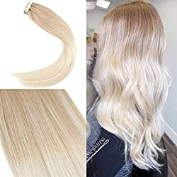 Youngsee 18inch Tape in Ombre Hair Extensions Dark Golden Blonde to Platium Blonde Remy Straight Human Hair Balayage Skin Weft Hair Extensions 20pcs 50g/pack