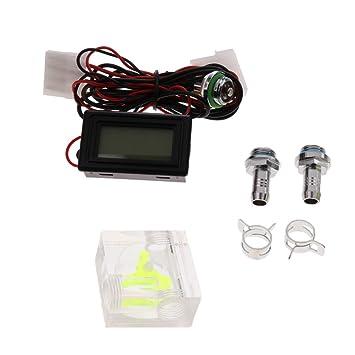 Homyl Medidor de Flujo de Tres vías Termómetro Digital con Adaptador con Clips Fijos Herramientas