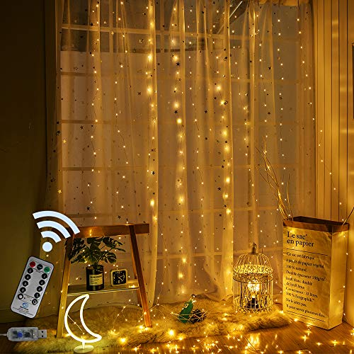 Copper Curtain - Obrecis 300 LED 8 Modes Window Curtain Twinkle Starry Lights, USB Remote Copper Icicle Curtain Lights Fairy String Lights Decor for Festival/Wedding/Party/Garden-9.8ft x 9.8ft(Warm White)